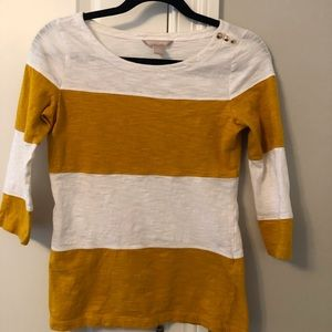 White and Yellow Stripped 3/4 length sleeved top